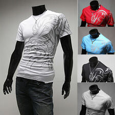 Fashion Luxury Short Sleeve Men Casual Hot Shirts T-Shirt Slim Fit New Mens