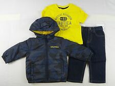 Nautica Baby boys set, 3-Piece Puffer Jacket, Tee & Pants Set size 12 months