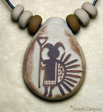 NAVAJO Rock Art Petroglyph Pendant Necklace with Native American Style Beads