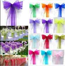 100PCS Organza Chair Cover Sash Bow Wedding Party Reception Banquet Decor