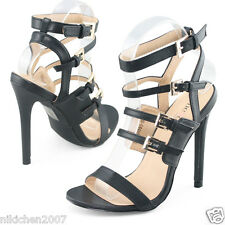 SheSole Womens black strappy stilettos high heels dress evening party shoes size