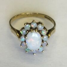 Lovely Solid 9ct Gold Hallmarked Opal Cluster Dress Ring Size O1/2