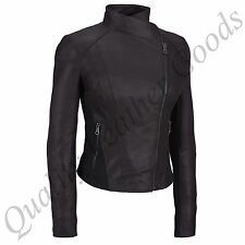 FEMALE LADIES WOMAN PREMIUM SHEEP LEATHER BIKER JACKET DOUBLE BREASTED FRONT