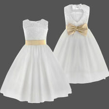 Flower Girls Kids Lace Tulle Pageant Wedding Princess Formal Party Recital Dress