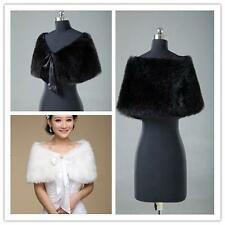 Faux Fur Shawl Bride Ivory Winter Cape Shrug Coat Wedding Accessories Jacket