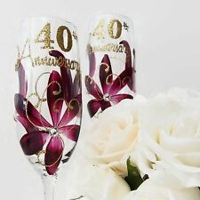 40th Anniversary Hand Painted Ruby Wine Glasses