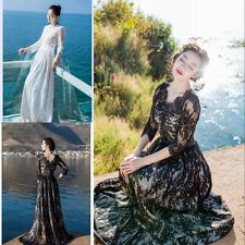New Noble Sexy Elegant Black Long Sleeve Evening Dress Retro Lace Prom Ball Gown