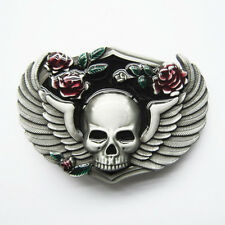 Punk Flowers Wings Emo Skull Belt Buckle Gurtelschnalle Boucle de ceinture