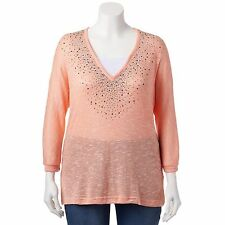 Cathy Daniels Coral Mock Layer Embellished Sweater Knit Top Womans Plus NEW $50