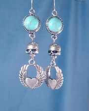 Turquoise Silver Skull Heart Wings Earrings Pierced Dangle Hooks Biker Gift