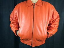 Mens Genuine Leather Bomber Coat Military Jacket Removable Fur Lining Orange S M