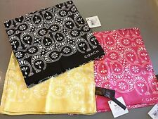 "Coach Ash Eyelet Print 60""x10"" Oblong Silk Neck/Handbag 100% Silk Scarf/MSRP $58"