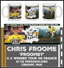 NEW CHRIS FROOME 'FROOMEY' 3 X TOUR de FRANCE WINNER PERSONALISED CERAMIC MUG