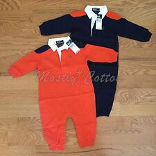 NWT boys 9m 12m 18m Polo Ralph Lauren longall rugby romper one-piece blue orange