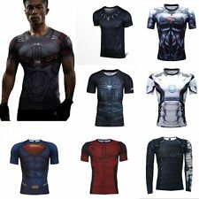 Men's Compression Marvel Superhero Top T-shirts Gym Fitness Sports Cool Shirts