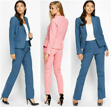 Womens Business Blue Pink Linen Lapel One Button Tailored Trousers Blazer Suits
