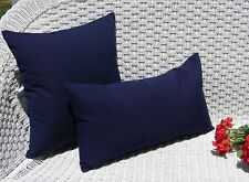 Set of 2 Square & Rectangle / Lumbar Pillows - Indoor Outdoor - Choice of Solids