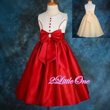 Satin Formal Occasion Dress Wedding Flower Girl Pageant Party Prom Size 3-12 197