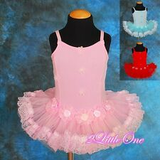 Girl Rosettes Ballet Tutu Dance Costume Fairy Fancy Dress Leotard Size 2T-5 #019