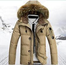 Winter Warm Mens Puffer Fur Collar Hooded Slim Parka Thick Down Jacket Overcoats