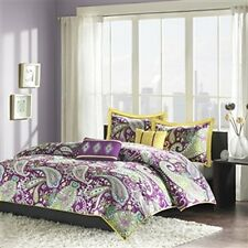 5PC QUEEN FULL 4PC TWIN XL SIZE COMFORTER BED SETS PURPLE PAISLEY BEDDING SET