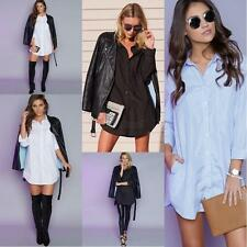 Women's Long Sleeve Button Down Shirt Casual Irregular T-shirt Tops Blouse Dress