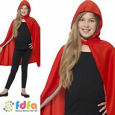 RED HOODED CAPE HALLOWEEN RED RIDING HOOD BOOK WEEK kids childs fancy dress
