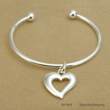 Screw End Add More Charms Open Bangle Bracelet with Charm - Cross/Heart/Horse
