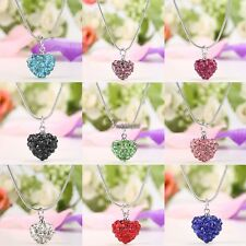 New 1PC Women Rhinestone Crystal Alloy Heart Necklace Jewelry Pendant Chain