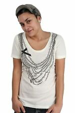 Lucky 7 Cream Ladies Lucky Charm Necklaces Bow Deep Scoop T-Shirt $49.40 CAD NWT