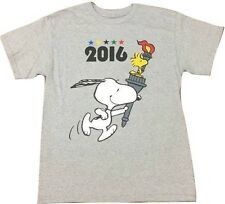 Peanuts Snoopy & Woodstock 2016 Rio Olympic Torch Gray T-Shirt S-6XL Licensed