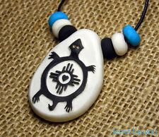 Petroglyph TURTLE Pendant Necklace Native American Mimbres Style Handmade Beads