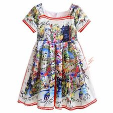 Toddler Kids Girls Flower Dress Summer Cotton Princess Party Pageant Communion
