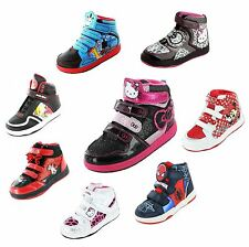 New Kids Cartoon Characters HI Top Trainers Infant Boys Girls Skate Running Shoe