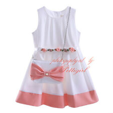 Kids Girl Princess Dress + Pink Bow Bag Communion Birthday Wedding Party Pageant