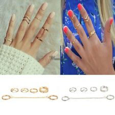 6pcs / Set Gold Urban Rings Crystal Above Knuckle stacking Band Midi Mid WT88