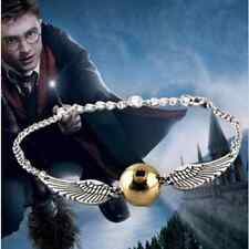 Fashion Harry Potter Golden Snitch Bracelet Double Wings Charm Bangle Jewelry YY