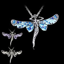 Dragonfly Charms Angel Tibetan Silver Pendant Costume Chain Necklace Lady Girls