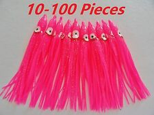"""10-100 pcs Hot Pink Hoochie Squid Skirts 4.75"""" Fishing Lures Select Pieces"""