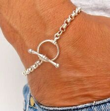 925 sterling silver link chain bracelet toggle clasp chunky heavy men women new