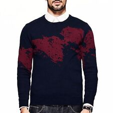 Mens 100% Cotton Printing Round Neck Slim Pullover  Sweater M  L  XL  XXL Blue