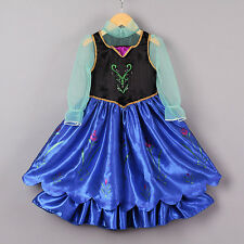 Girls Frozen Dress Anna Cosplay Costume Halloween Party Pageant Fancy Dresses
