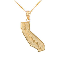 Fine 14k Yellow Gold Golden State California Cali Map Pendant Necklace