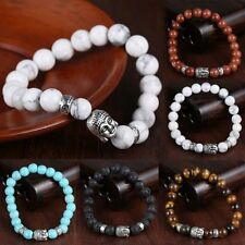 Unisex Women Mens Lava Rock Natural Stone Charms Bead Buddha Bangle Bracelet New
