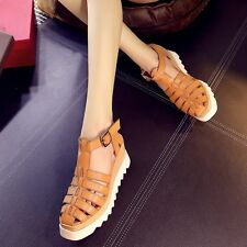 Ladies High Heels Roman Sandals Platform Hollow Out Womens Casual Wedge Shoes