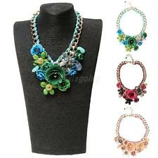 Lady Hot Jewelry Banquet Big Chain Flower Crystal Pendant Statement Necklace