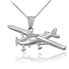 .925 Sterling Silver Piper Tri Pacer PA-20 Aircraft Airplane Pendant Necklace