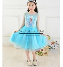 Girls Disney Elsa Frozen Dress Costume Princess Anna party pageant dresses 3-7Y