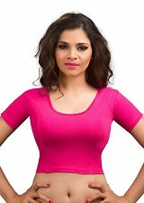 Indian Saree Blouse Pink Cotton Lycra Party Wear Tunic Stretchable Choli Top