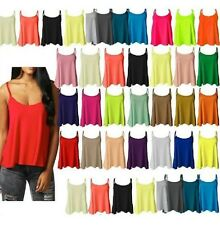 NEW WOMENS PLAIN TOP SWING VEST SLEEVLESS  STRAPPY CAMI LADIES SIZE FLARED